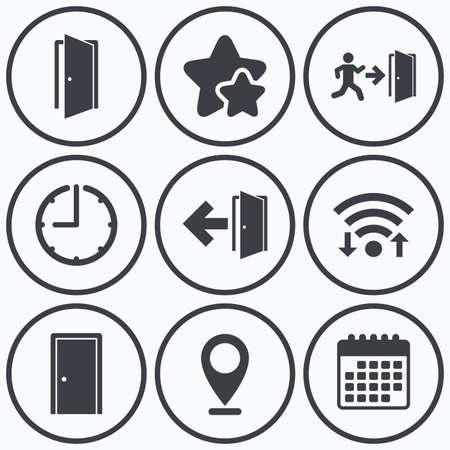 arrow emergency exit: Clock, wifi and stars icons. Doors icons. Emergency exit with human figure and arrow symbols. Fire exit signs. Calendar symbol.