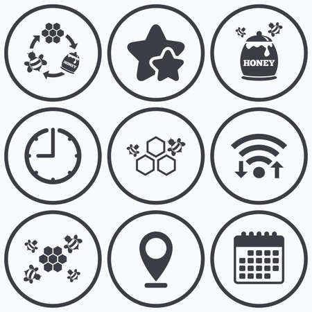 nectar: Clock, wifi and stars icons. Honey icon. Honeycomb cells with bees symbol. Sweet natural food signs. Calendar symbol.