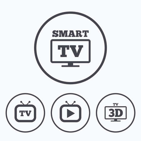 3d mode: Smart 3D TV mode icon. Widescreen symbol. Retro television and TV table signs. Icons in circles.