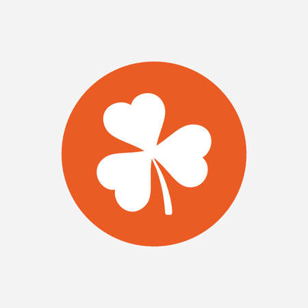 clover buttons: Clover with three leaves sign icon. Trifoliate clover. Saint Patrick trefoil symbol. Orange circle button with icon. Vector