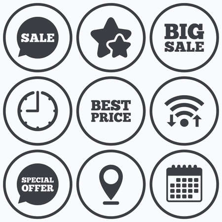 big timer: Clock, wifi and stars icons. Sale icons. Special offer speech bubbles symbols. Big sale and best price shopping signs. Calendar symbol. Illustration