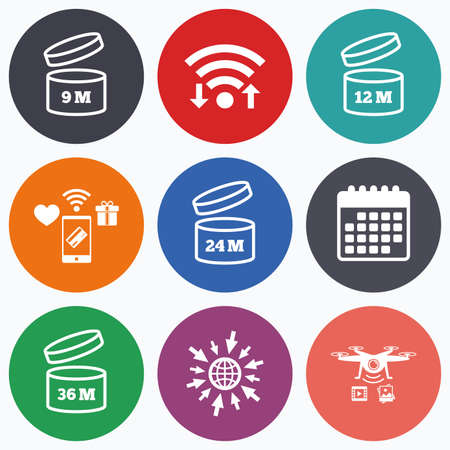 unfit: Wifi, mobile payments and drones icons. After opening use icons. Expiration date 9-36 months of product signs symbols. Shelf life of grocery item. Calendar symbol.