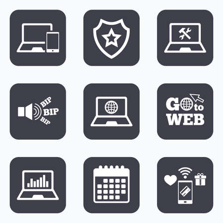 laptop repair: Mobile payments, wifi and calendar icons. Notebook laptop pc icons. Internet globe sign. Repair fix service symbol. Monitoring graph chart. Go to web symbol.
