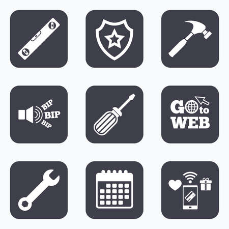 bubble level: Mobile payments, wifi and calendar icons. Screwdriver and wrench key tool icons. Bubble level and hammer sign symbols. Go to web symbol.