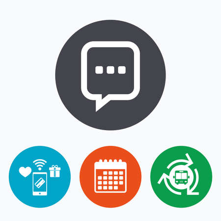 three points: Chat sign icon. Speech bubble with three dots symbol. Communication chat bubble. Mobile payments, calendar and wifi icons. Bus shuttle. Illustration