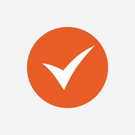 Controleer teken icoon. Ja symbool. Bevestigen. Oranje cirkel knop met het pictogram. Vector