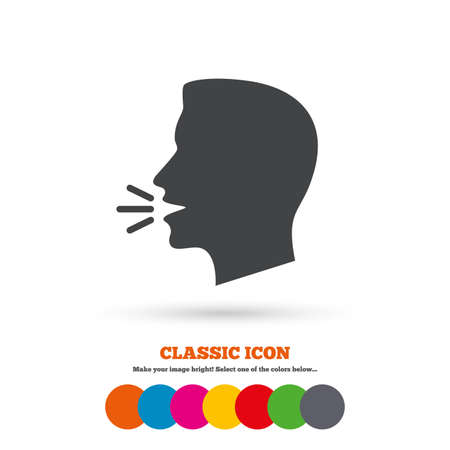 Talk or speak icon. Loud noise symbol. Human talking sign. Classic flat icon. Colored circles.