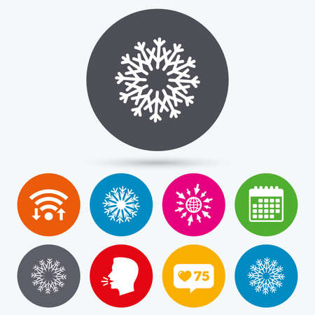 new year counter: Wifi, like counter and calendar icons. Snowflakes artistic icons. Air conditioning signs. Christmas and New year winter symbols. Human talk, go to web. Illustration