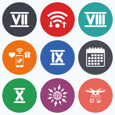 ancient roman: Wifi, mobile payments and drones icons. Roman numeral icons. 7, 8, 9 and 10 digit characters. Ancient Rome numeric system. Calendar symbol. Illustration