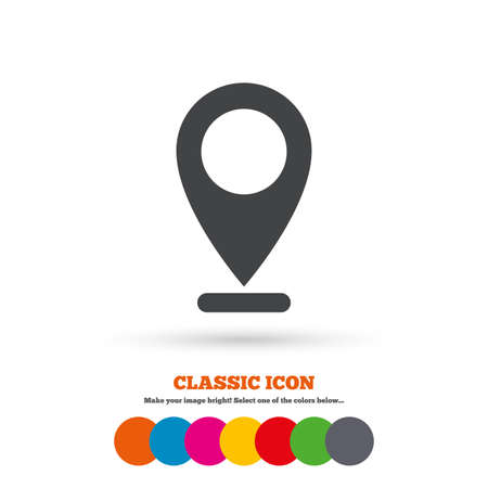 internet mark: Internet mark icon. Navigation pointer symbol. Position marker sign. Classic flat icon. Colored circles.