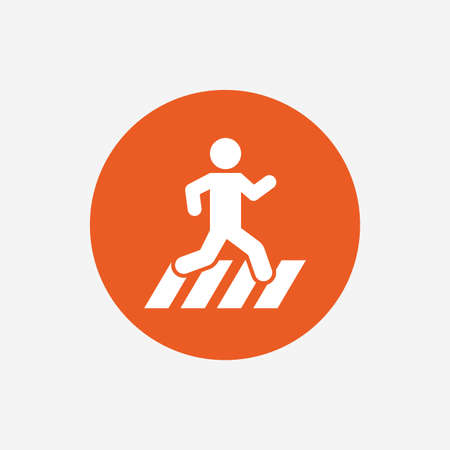 crossing street: Crosswalk icon. Crossing street sign. Orange circle button with icon. Vector