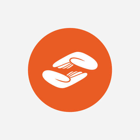 endowment: Helping hands sign icon. Charity or endowment symbol. Human palm. Orange circle button with icon. Vector Illustration