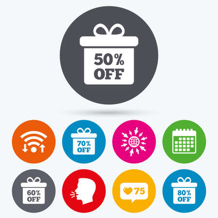 60 70: Wifi, like counter and calendar icons. Sale gift box tag icons. Discount special offer symbols. 50%, 60%, 70% and 80% percent off signs. Human talk, go to web.