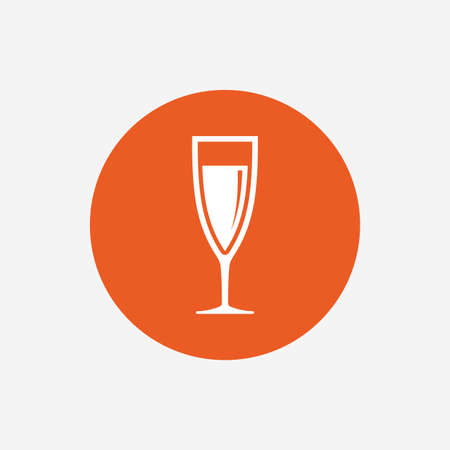 champagne orange: Glass of champagne sign icon. Sparkling wine. Celebration or banquet alcohol drink symbol. Orange circle button with icon. Vector Illustration