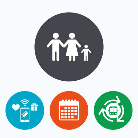 family with one child: Family with one child sign icon. Complete family symbol. Mobile payments, calendar and wifi icons. Bus shuttle.