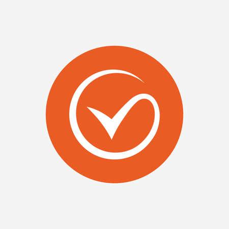 目盛記号アイコン。チェック マーク記号。オレンジ色の丸ボタンのアイコン。ベクトル