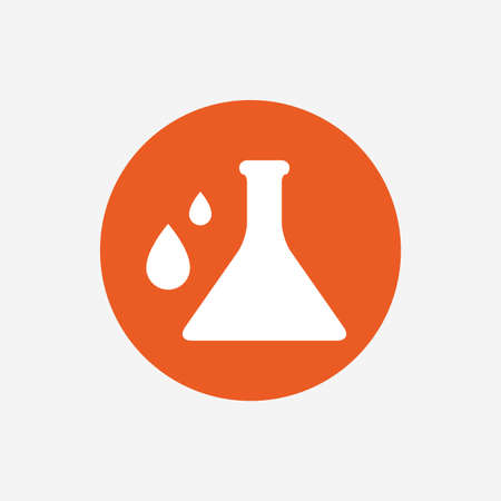 laboratory label: Chemistry sign icon. Bulb symbol with drops. Lab icon. Orange circle button with icon. Vector Illustration