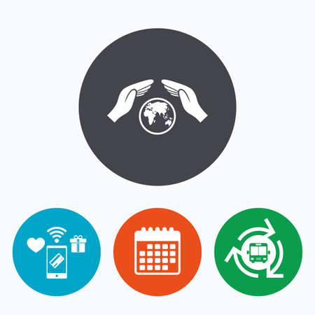 peace stamp: Worldwide insurance sign icon. Hands protect cover symbol. Travel insurance. World peace. Save planet. Mobile payments, calendar and wifi icons. Bus shuttle. Illustration