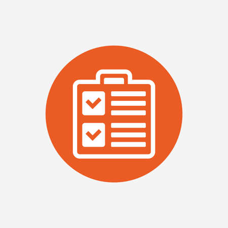 poll: Checklist sign icon. Control list symbol. Survey poll or questionnaire form. Orange circle button with icon. Vector