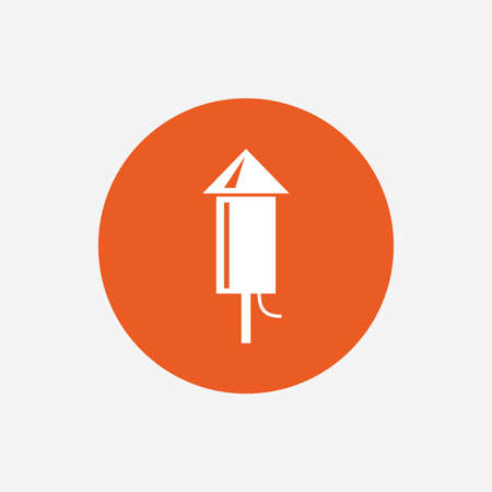 pyrotechnic: Fireworks rocket sign icon. Explosive pyrotechnic device symbol. Orange circle button with icon. Vector