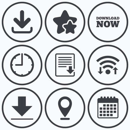 Clock, wifi and stars icons. Download now icon. Upload file document symbol. Receive data from a remote storage signs. Calendar symbol. Illustration
