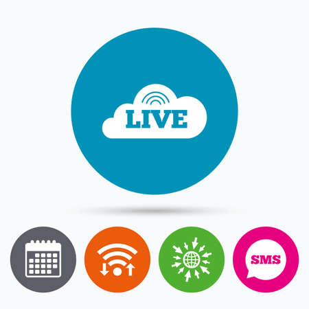 live on air: Wifi, Sms and calendar icons. Live sign icon. On air stream symbol. Go to web globe.
