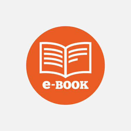 electronic device: E-Book sign icon. Electronic book symbol. Ebook reader device. Orange circle button with icon. Vector Illustration