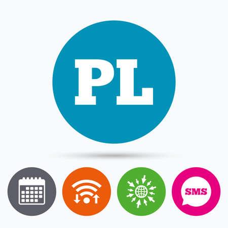 pl: Wifi, Sms and calendar icons. Polish language sign icon. PL translation symbol. Go to web globe.
