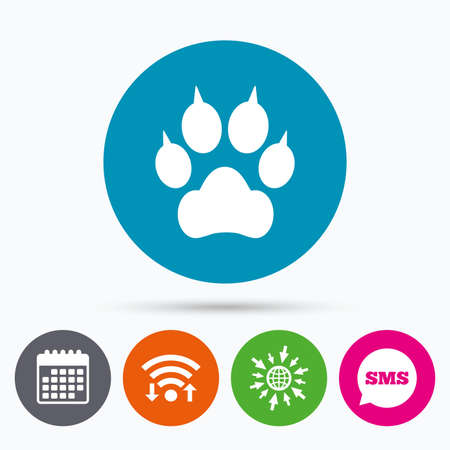 clutches: Wifi, Sms and calendar icons. Dog paw with clutches sign icon. Pets symbol. Go to web globe.
