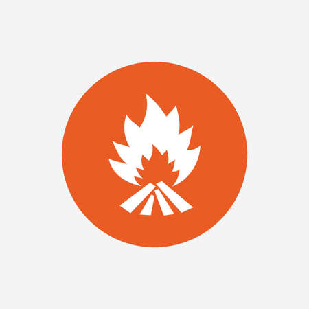 fire escape: Fire flame sign icon. Heat symbol. Stop fire. Escape from fire. Orange circle button with icon. Vector Illustration