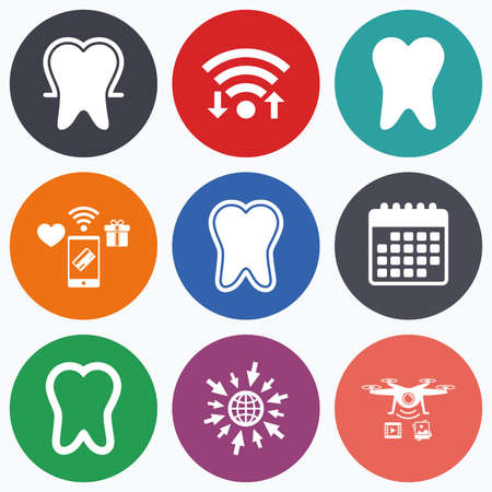 enamel: Wifi, mobile payments and drones icons. Tooth enamel protection icons. Dental toothpaste care signs. Healthy teeth sign. Calendar symbol. Illustration