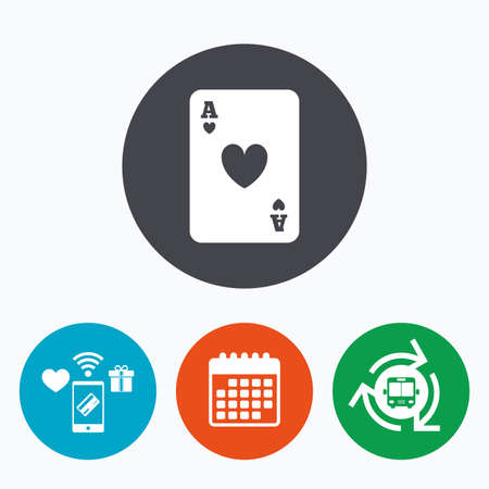 ace of hearts: Casino sign icon. Playing card symbol. Ace of hearts. Mobile payments, calendar and wifi icons. Bus shuttle.