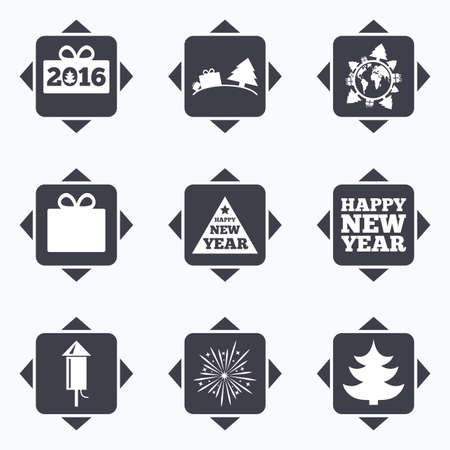 new direction: Icons with direction arrows. Christmas, new year icons. Gift box, fireworks signs. Santa bag, salut and rocket symbols. Square buttons. Illustration