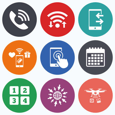 outcoming: Wifi, mobile payments and drones icons. Phone icons. Touch screen smartphone sign. Call center support symbol. Cellphone keyboard symbol. Incoming and outcoming calls. Calendar symbol.