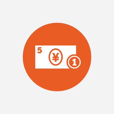 jpy: Cash sign icon. Yen Money symbol. JPY Coin and paper money. Orange circle button with icon. Vector