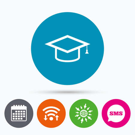 higher education: Wifi, Sms and calendar icons. Graduation cap sign icon. Higher education symbol. Go to web globe.