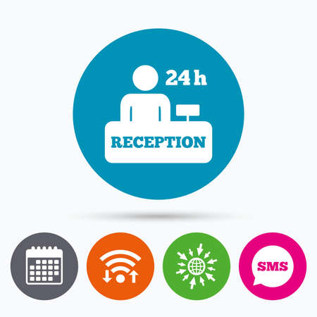 reception table: Wifi, Sms and calendar icons. Reception sign icon. 24 hours Hotel registration table with administrator symbol. Go to web globe.