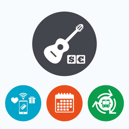 usr: Acoustic guitar sign icon. Paid music symbol. Mobile payments, calendar and wifi icons. Bus shuttle.
