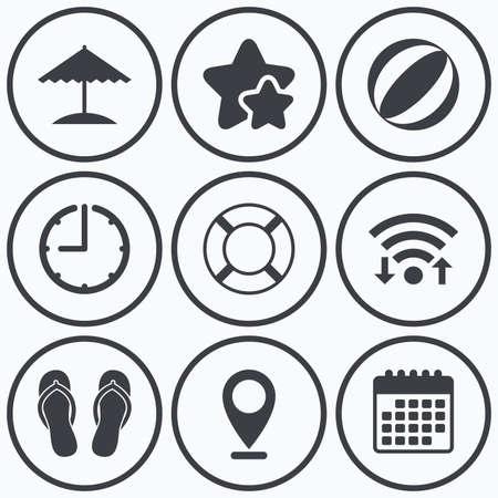 flipflops: Clock, wifi and stars icons. Beach holidays icons. Ball, umbrella and flip-flops sandals signs. Lifebuoy symbol. Calendar symbol.