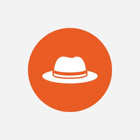 headdress: Top hat sign icon. Classic headdress symbol. Orange circle button with icon. Vector Illustration
