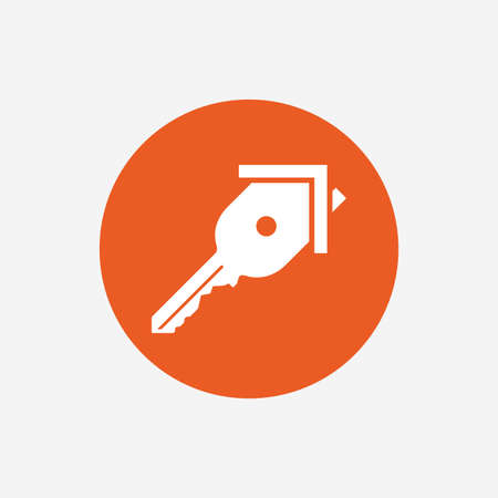home owner: Key from the house sign icon. Unlock tool symbol. Orange circle button with icon. Vector