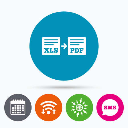 Wifi, Sms and calendar icons. Export XLS to PDF icon. File document symbol. Go to web globe.