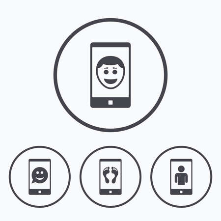 video call: Selfie smile face icon. Smartphone video call symbol. Self feet or legs photo. Icons in circles. Illustration