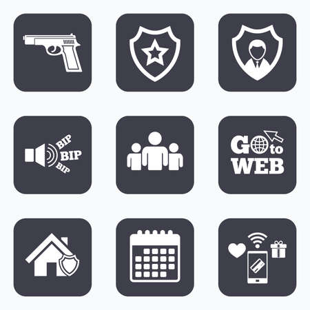 home group: Mobile payments, wifi and calendar icons. Security agency icons. Home shield protection symbols. Gun weapon sign. Group of people or Share. Go to web symbol.