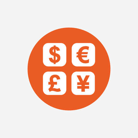 converter: Currency exchange sign icon. Currency converter symbol. Money label. Orange circle button with icon. Vector Illustration