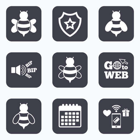 sting: Mobile payments, wifi and calendar icons. Honey bees icons. Bumblebees symbols. Flying insects with sting signs. Go to web symbol. Illustration