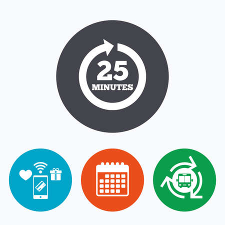 every: Every 25 minutes sign icon. Full rotation arrow symbol. Mobile payments, calendar and wifi icons. Bus shuttle.