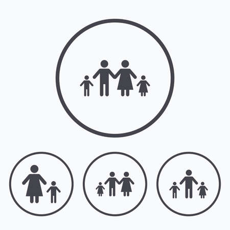 orphan: Family with two children icon. Parents and kids symbols. One-parent family signs. Mother and father divorce. Icons in circles.