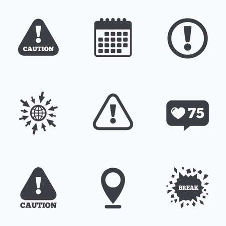 cautious: Calendar, like counter and go to web icons. Attention caution icons. Hazard warning symbols. Exclamation sign. Location pointer.