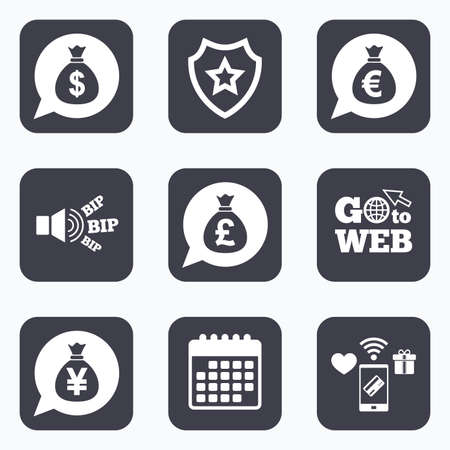 jpy: Mobile payments, wifi and calendar icons. Money bag icons. Dollar, Euro, Pound and Yen speech bubbles symbols. USD, EUR, GBP and JPY currency signs. Go to web symbol.